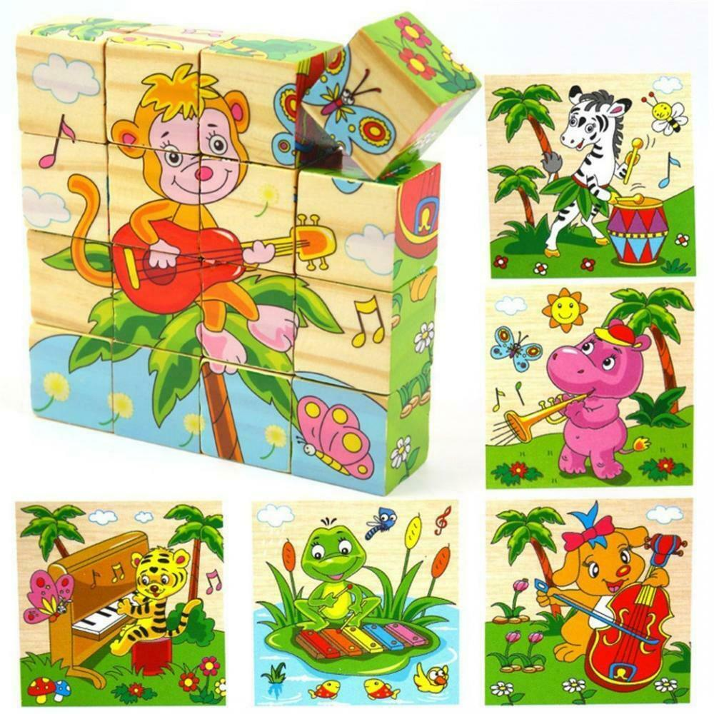 PROW® 100% Wood Cube Puzzles Jigsaw 16 Pcs Building Blocks