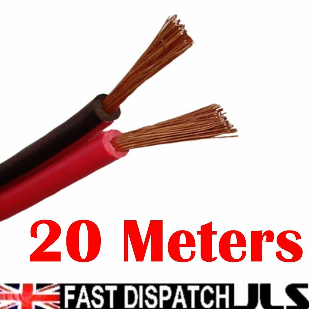 20M Red/Black Speaker Cable Wire Car Home Stereo Meter