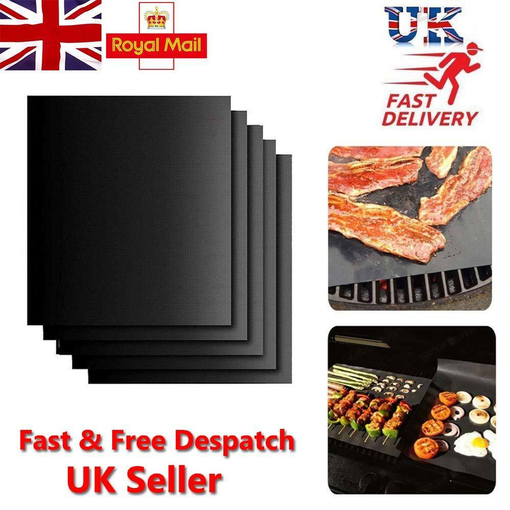 5x BBQ Grill Mat non-stick Oven Liners Teflon Cooking Baking
