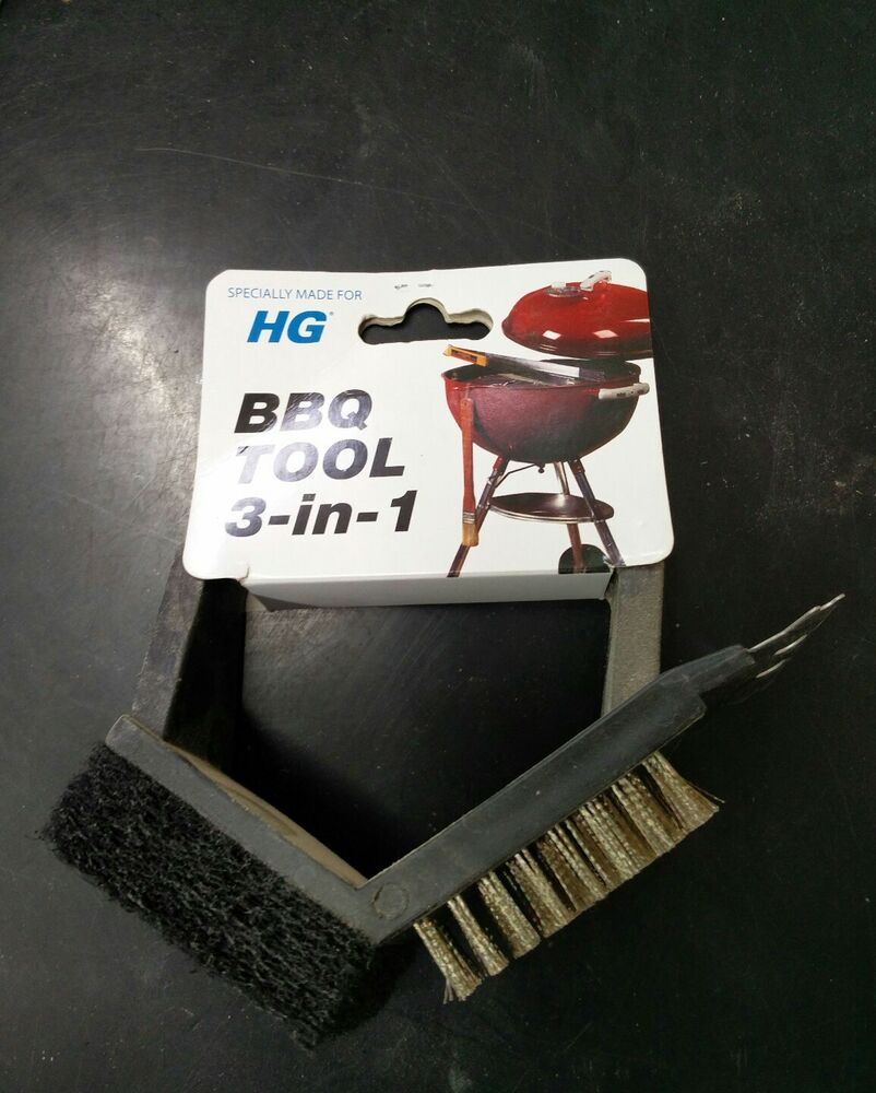 HG BBQ Tool 3 in 1 Black Outdoor Grill Hand Utility Garden