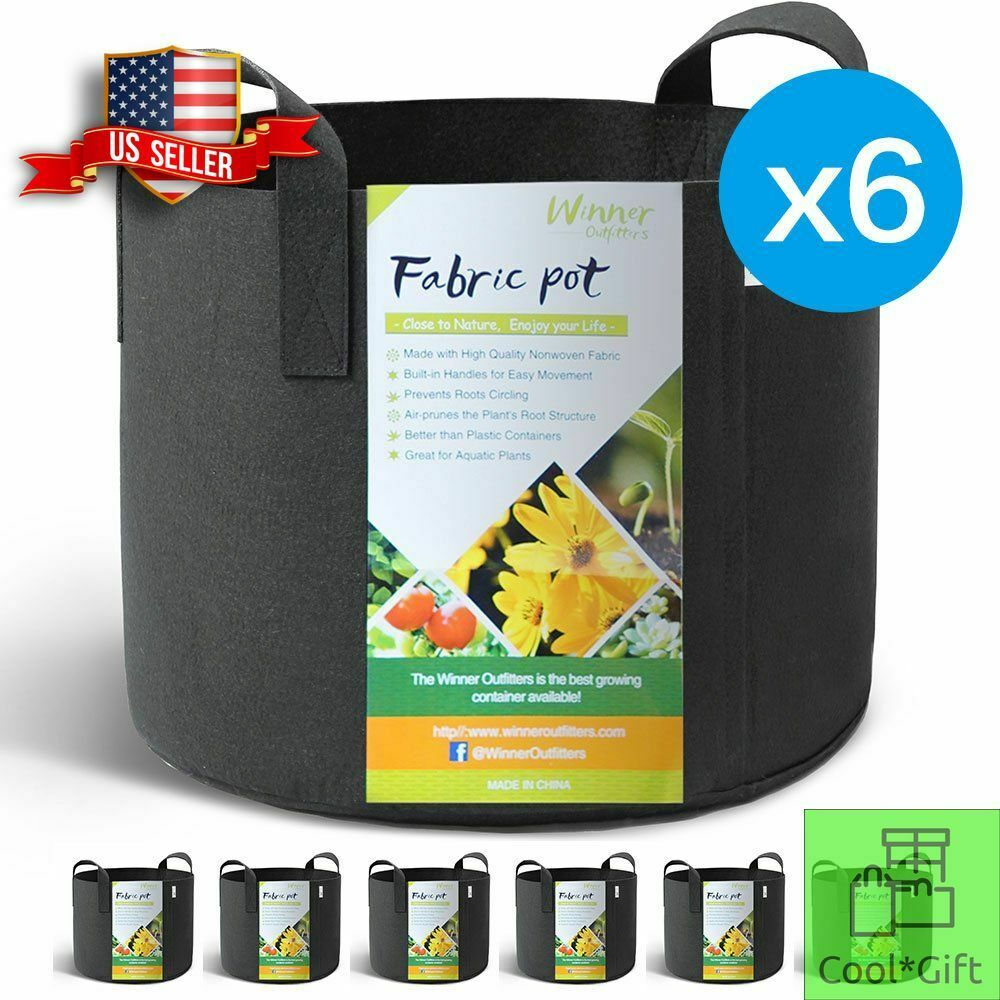Grow Bags Aeration 6-Pack Fabric Pots 5 Gallon Soil with