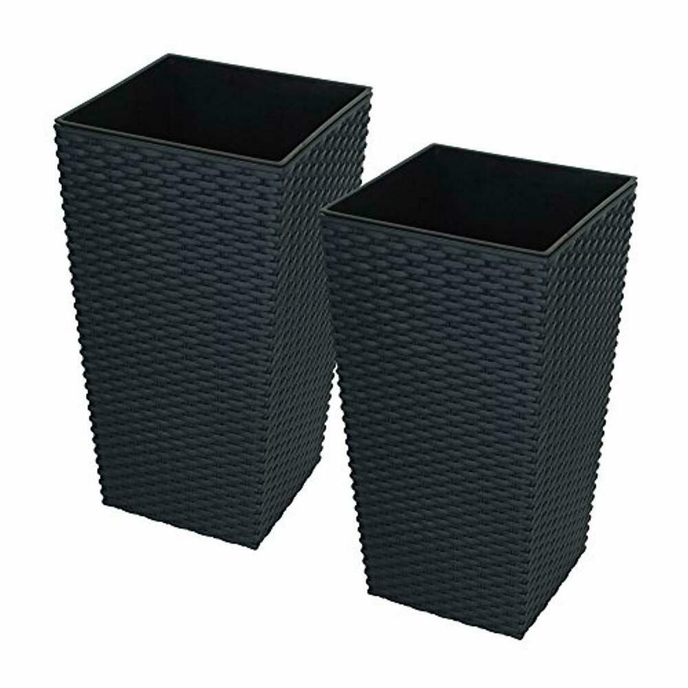 Large Rattan Tall Planter Square Plastic Garden Indoor