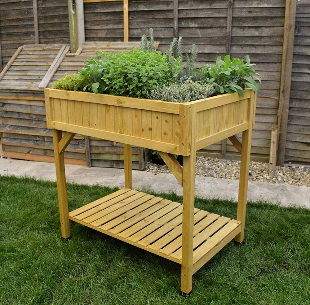 Vegtrug Raised Hardwood Herb Garden Patio Outdoor Planter -