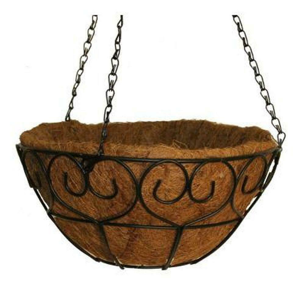 Vigoro Hanging Basket Planter 16 in. Metal Scroll Heart