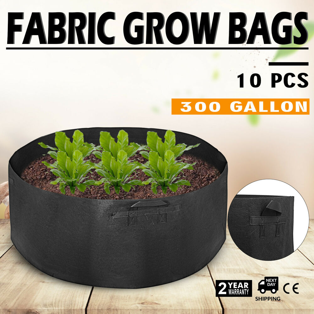 10 Pack 300 Gallon Fabric Plant Grow Bags With Handles
