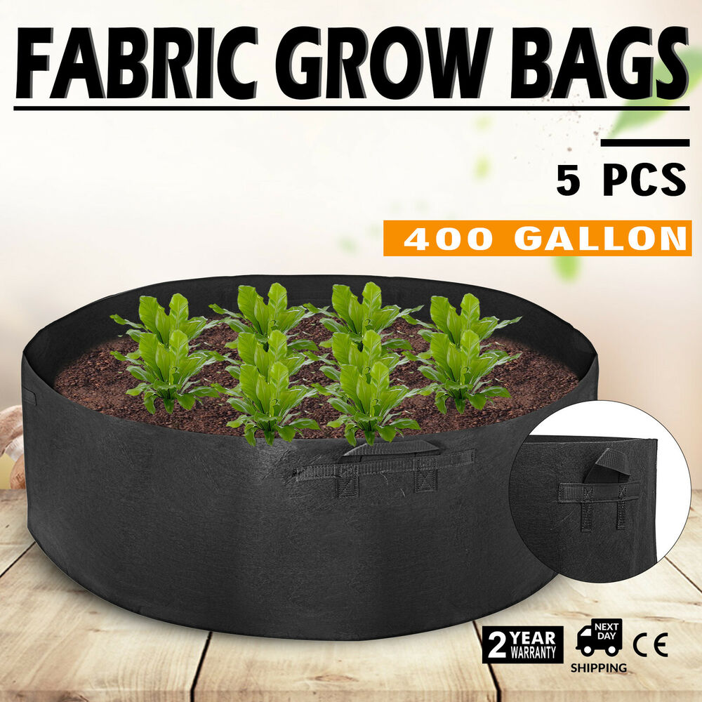 5 Pack 400 Gallon Fabric Plant Grow Bags With Handles Black