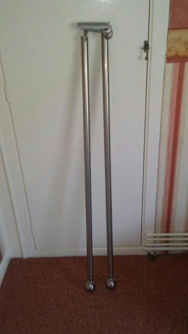 8 ft stainless steel effect curtain pole with fittings for