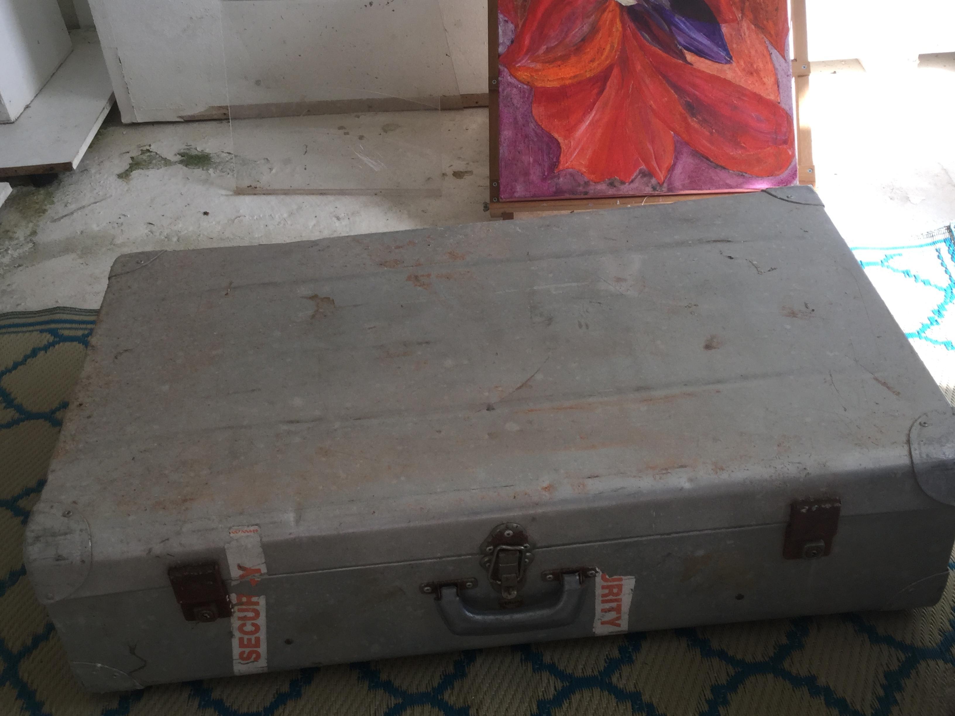 Large vintage aluminium suitcase