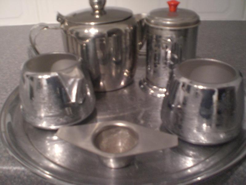 Tea making set, including Tray, sugar bowl, milk jug, Tea