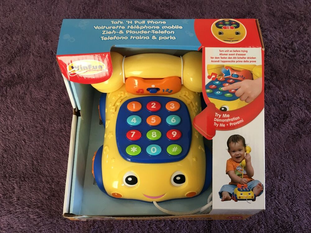 Baby First Winfun Talk 'N Pull Activity Phone Toy. Sound &