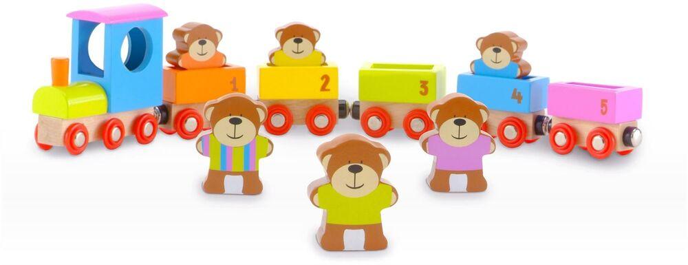 Fiesta Crafts TEDDIES TRAIN Wooden Toy BN