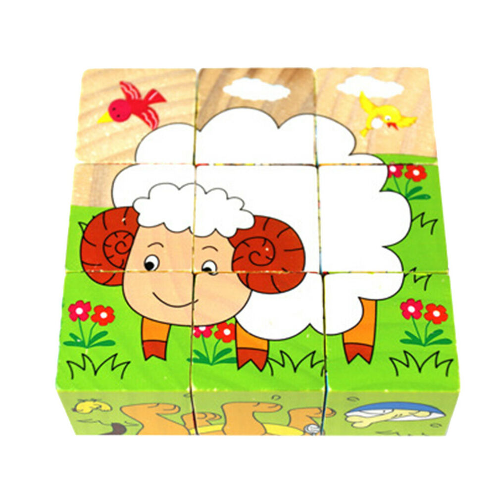 Nine Blocks Six Pattern Wooden Jigsaw Puzzle Toy for Small