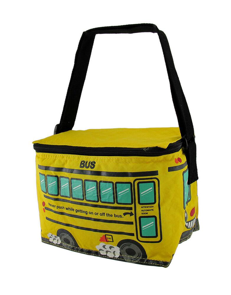 Zeckos Bright Yellow School Bus Insulated Vinyl Lunch Bag