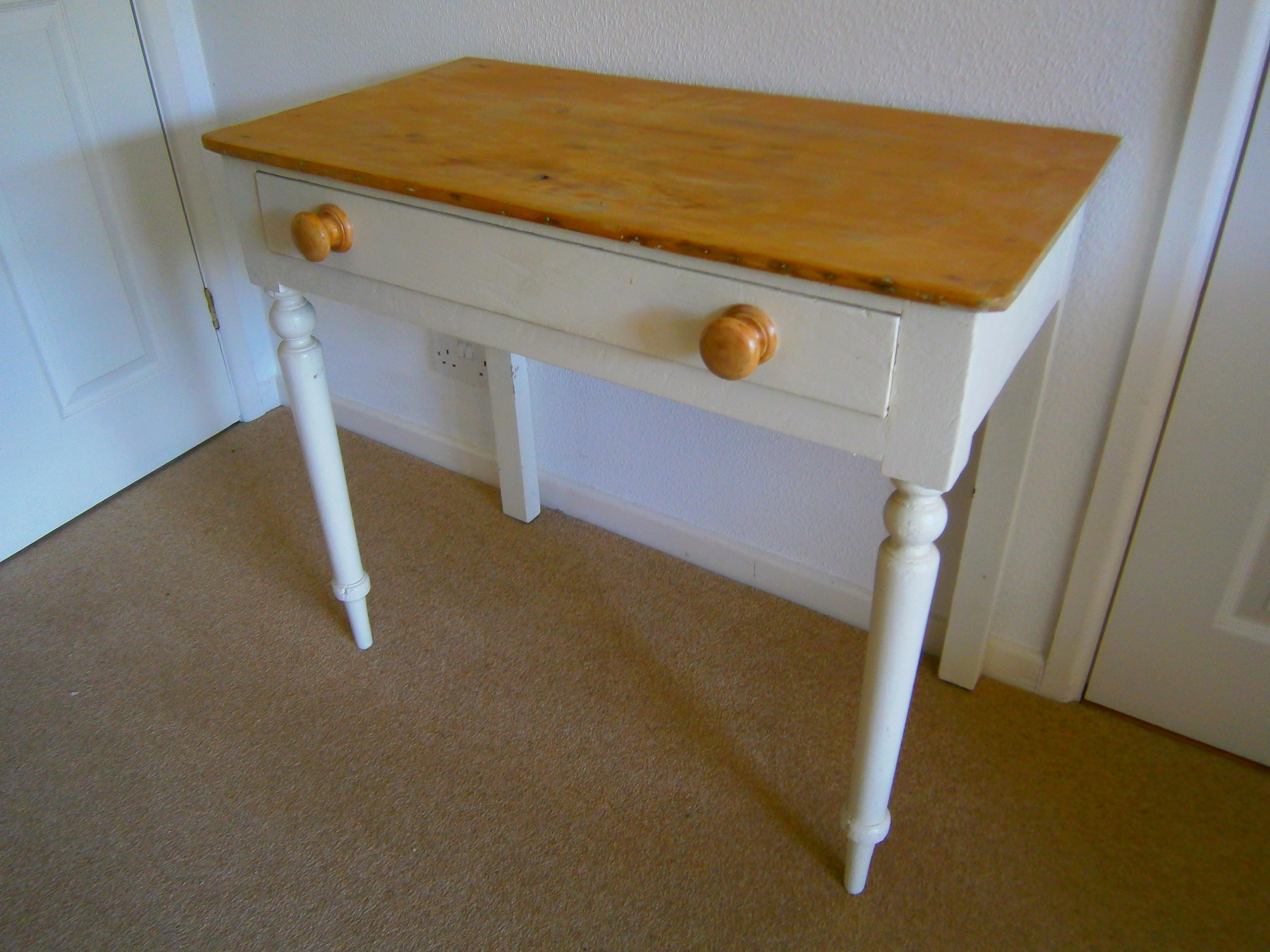 Antique Kitchen Side Table - 83 x 44 cm with a single drawer