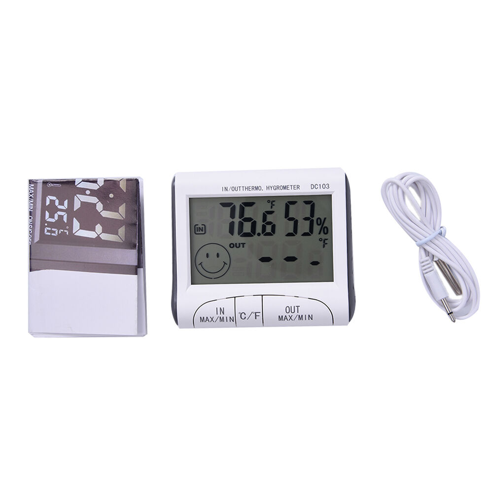 Digital LCD Indoor Outdoor Weather Hygrometer Thermometer