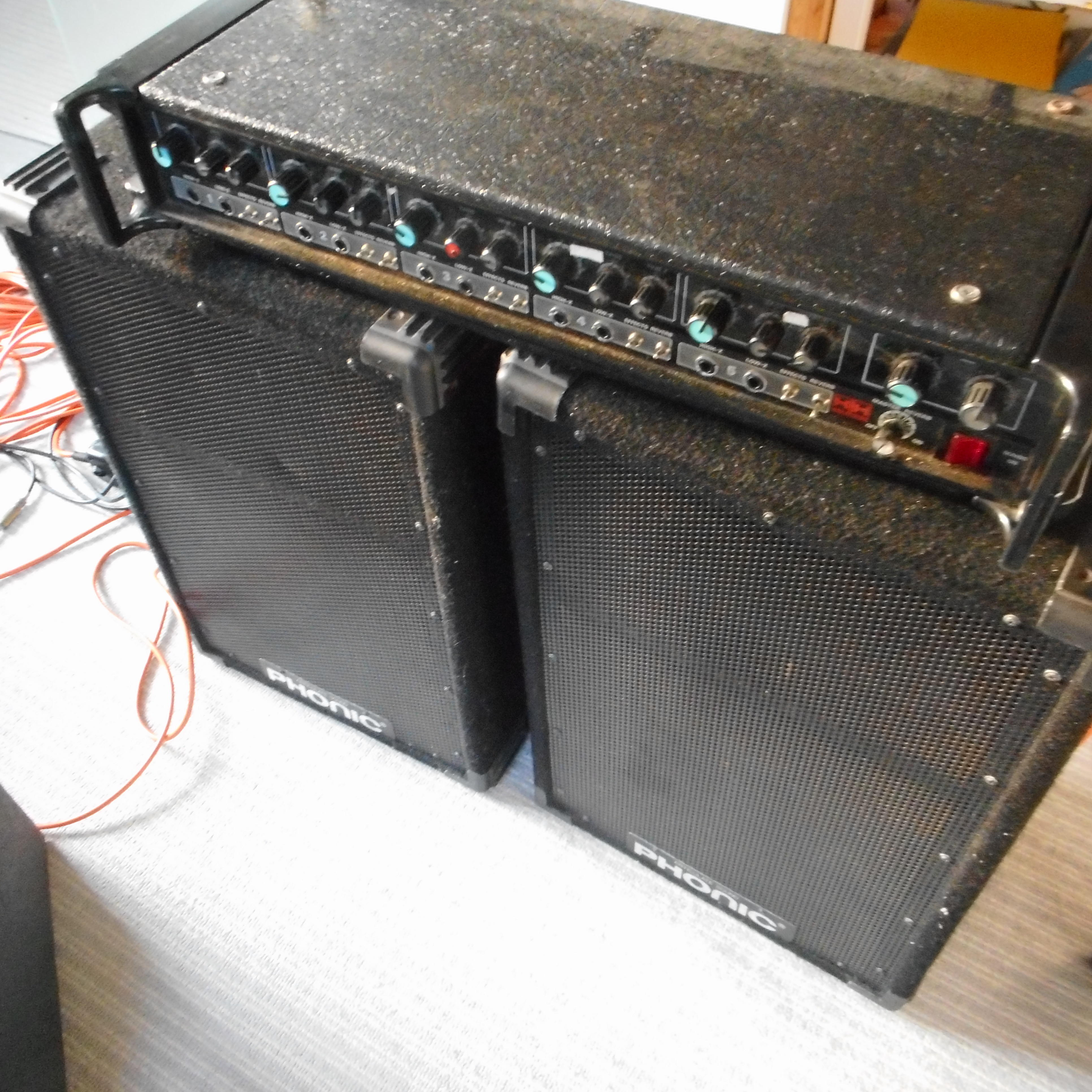 PA system, HH amp, Phonic speakers, Carlsbro Monitor wedge