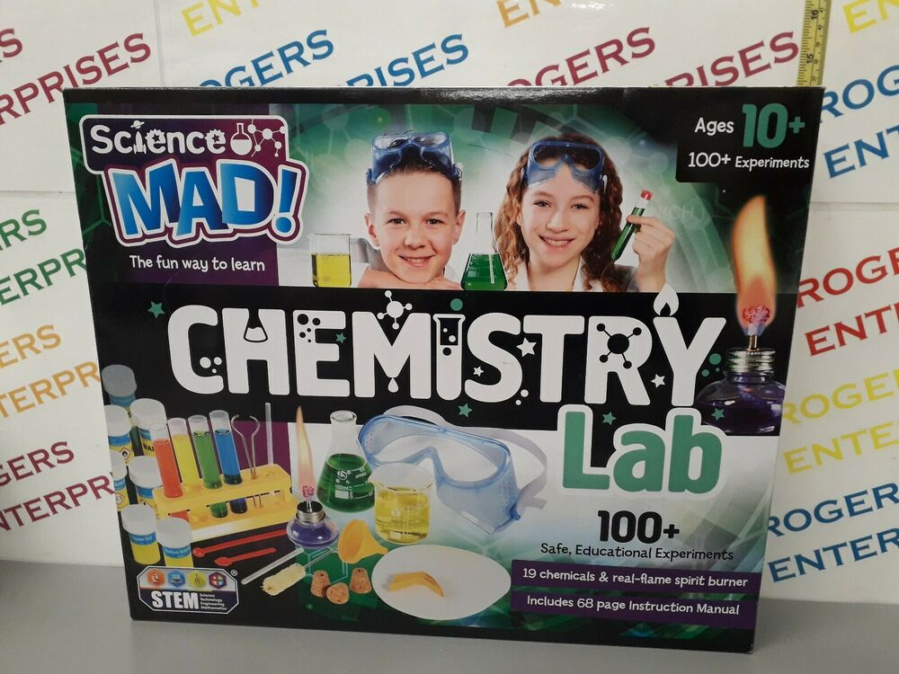 SCIENCE MAD CHEMISTRY LAB 100 EXPERIMENTS NEW Box Corners