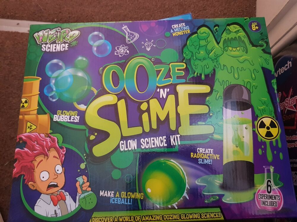Weird Science Ooze & Slime Glow Experiments Kit New