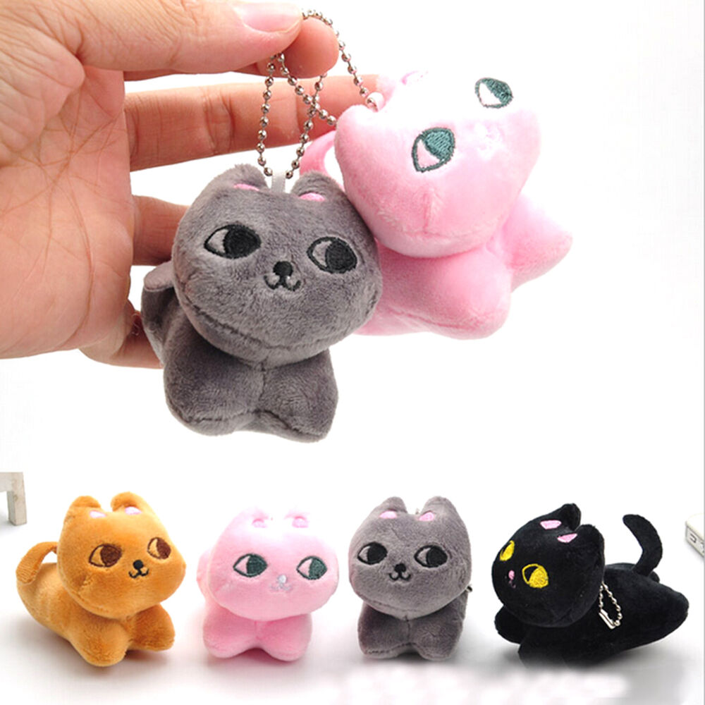 Cute Cat Soft Stuffed Plush Toy Keychain Keyring Fob Cushion