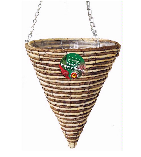 Kingfisher Rope Cone Hanging Basket Wire Chain Wicker Garden
