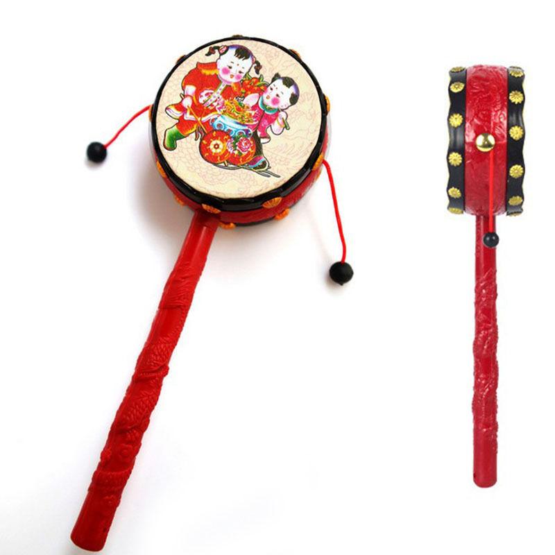 Baby Kids Cartoon Animal Hand Bell Toy Rattle Drum Musical
