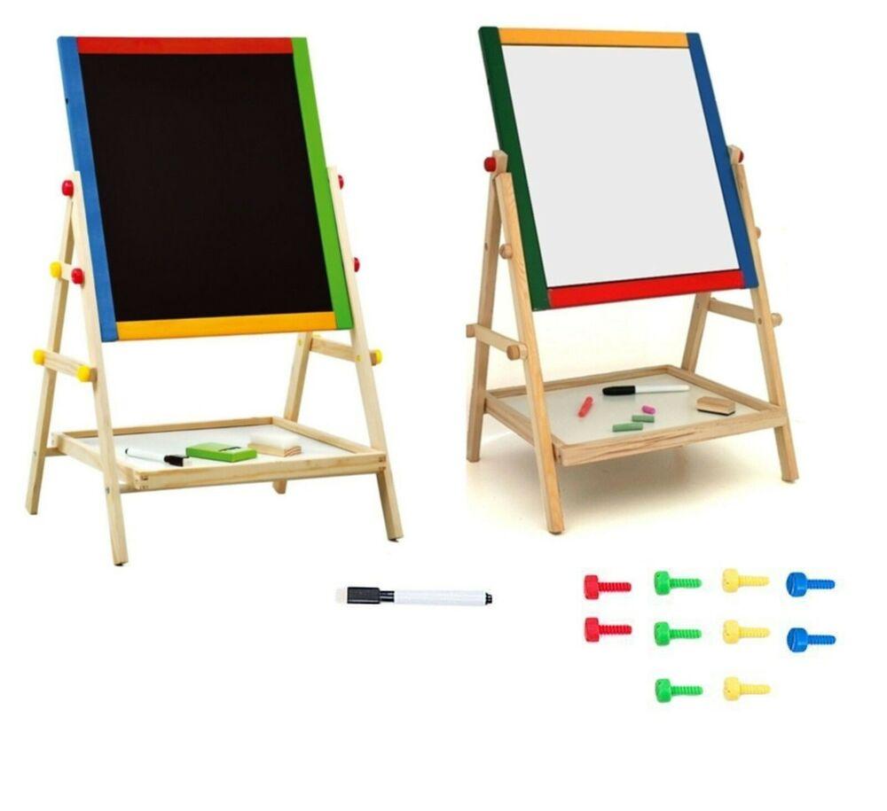 Kids 2 In 1 Black White Wooden Easel Chalk Drawing Board