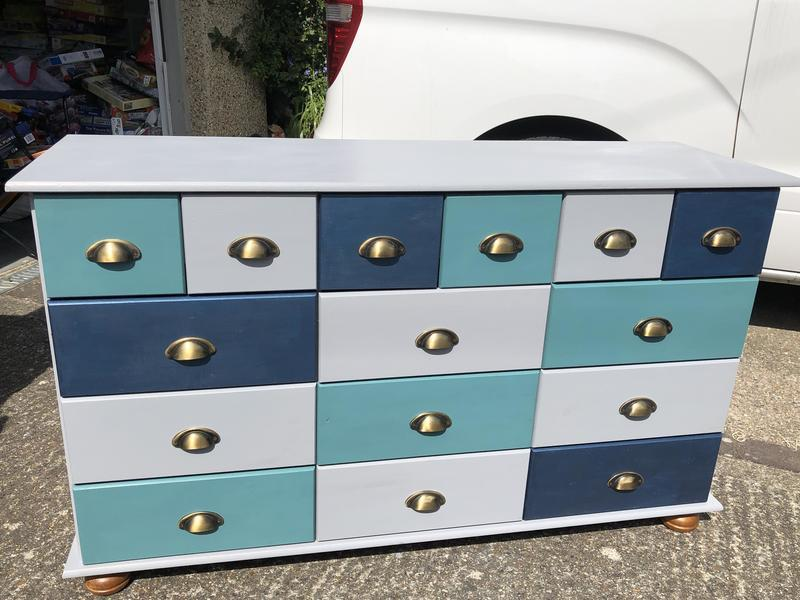 Multi coloured apothecary chest/cabinet