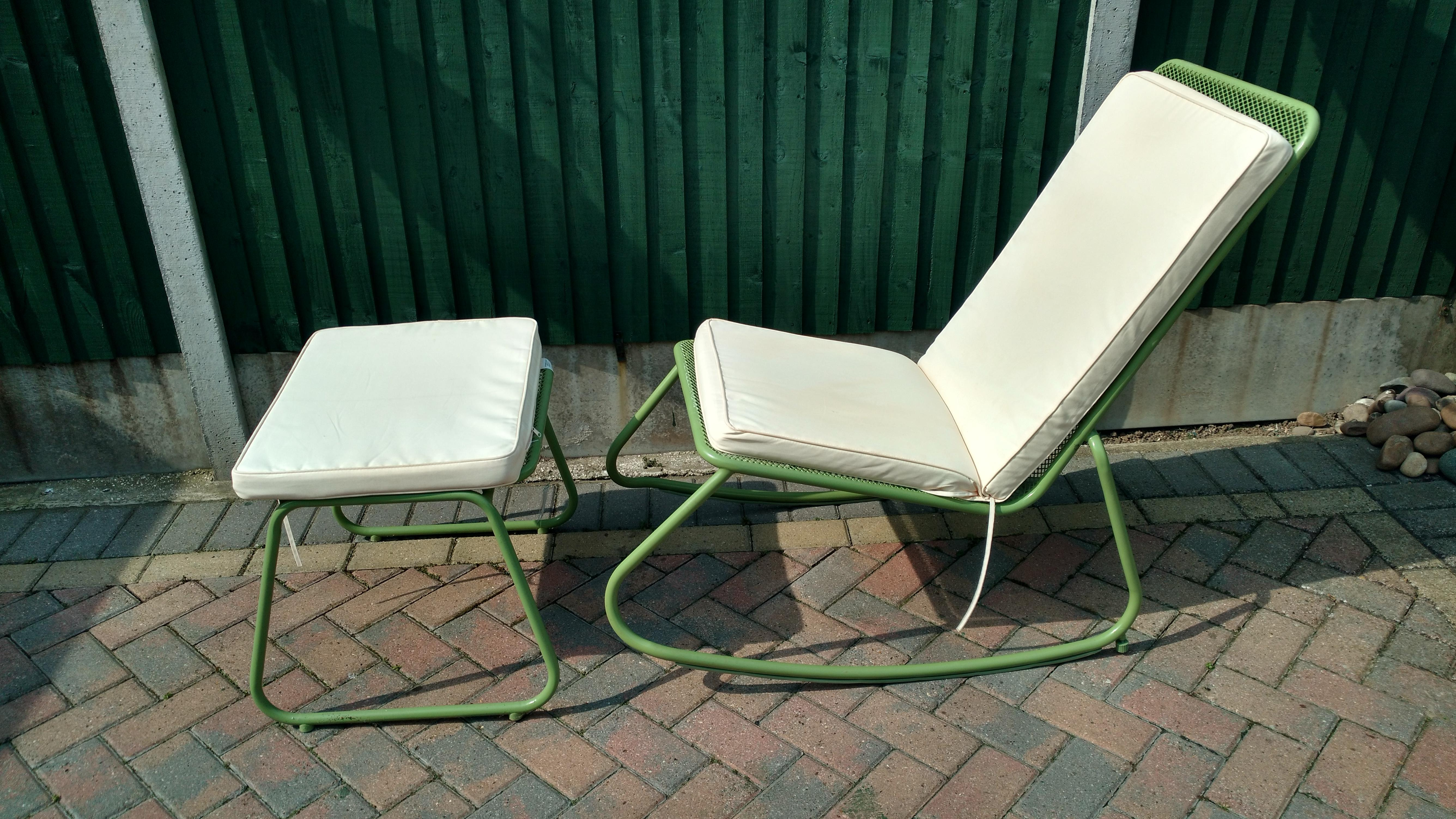 garden rocking chair and foot stool