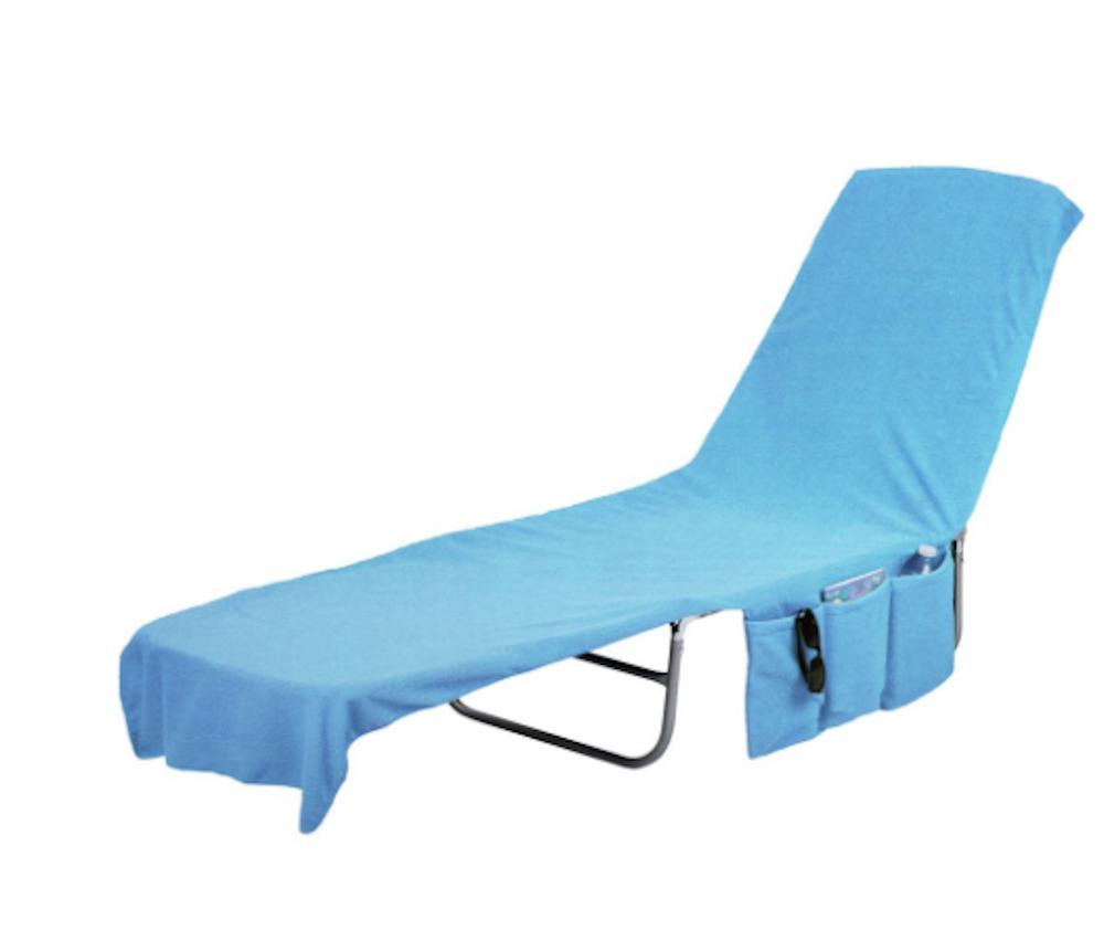 Beach Lounge Chair Cover Towel Tote Bag - Blue