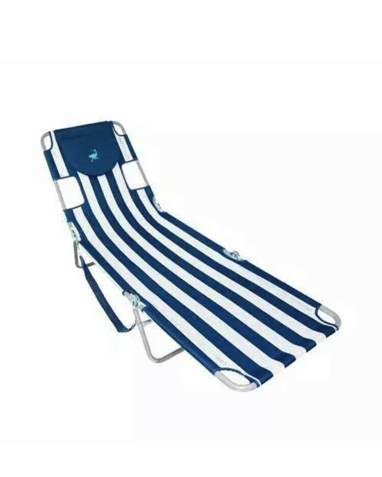 Ostrich Chaise Lounge Folding Sunbathing Beach Chair, Navy