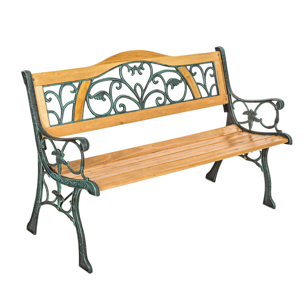 WOODEN GARDEN BENCH SEAT WITH CAST IRON LEGS WOOD FURNITURE