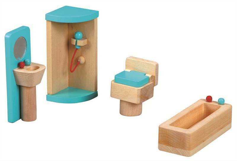 Lelin Wooden Bathroom Playset Childrens Pretend Play Set Age