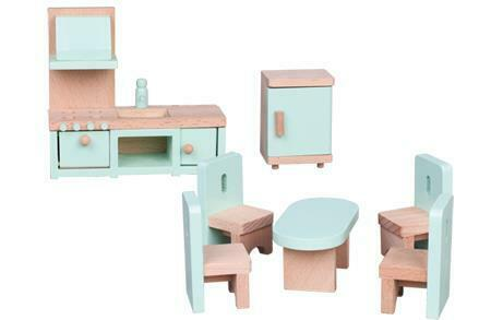 Lelin Wooden Kitchen & Dining Room Playset Childrens Pretend