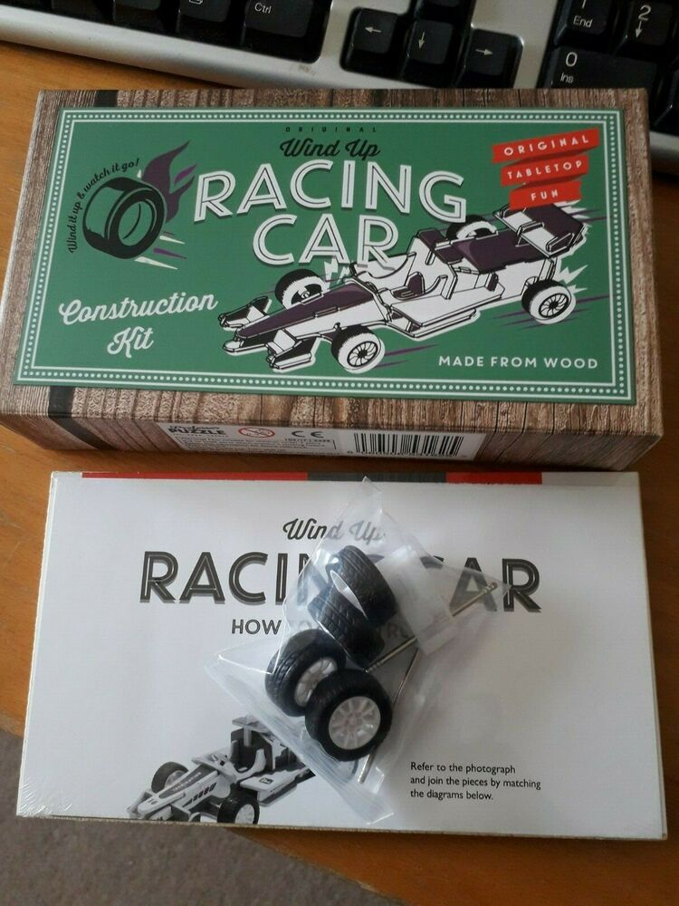 A New Wooden Wind-Up Racing Car Construction Kit