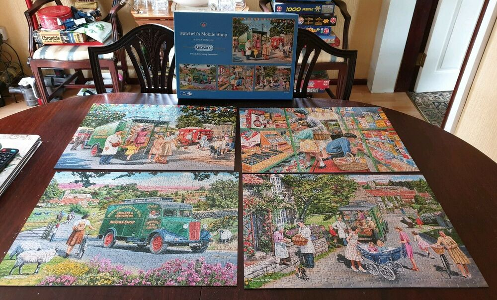 """4 x 500 Gibsons jigsaw puzzles """" Mitchell's Mobile Shop """" by"""