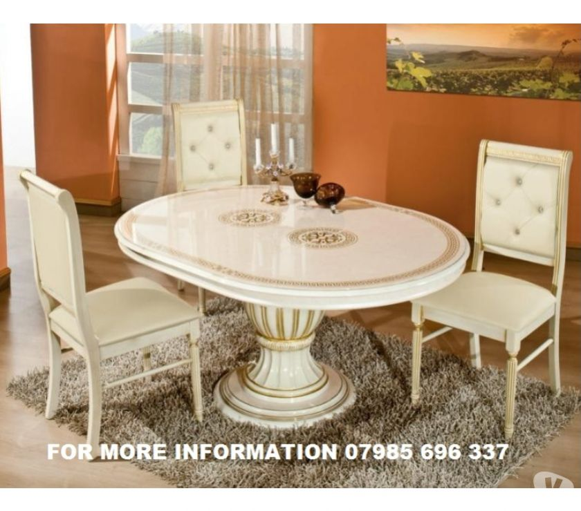 VERSACE DESIGN ROSSELLA ITALIAN DINING TABLE AND 4 CHAIRS WI