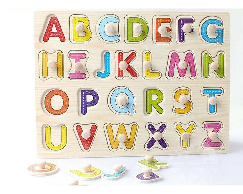 Wooden Peg Puzzle Capital Letters ABC Shapes Young Children