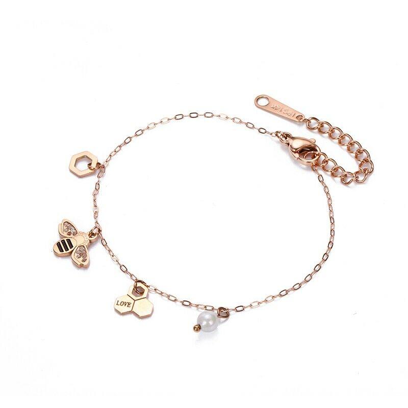 1X(Charm Bracelets For Women Vintage Rose Gold Jewelry