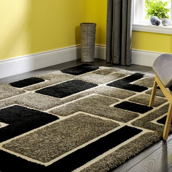 New Grey and Black Large Thick Hand Carved Rug from Hull