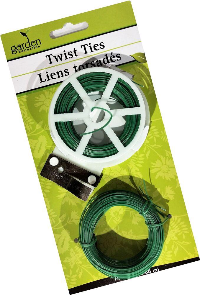 Garden Twist Ties with Cutter, Green, 75 ft.