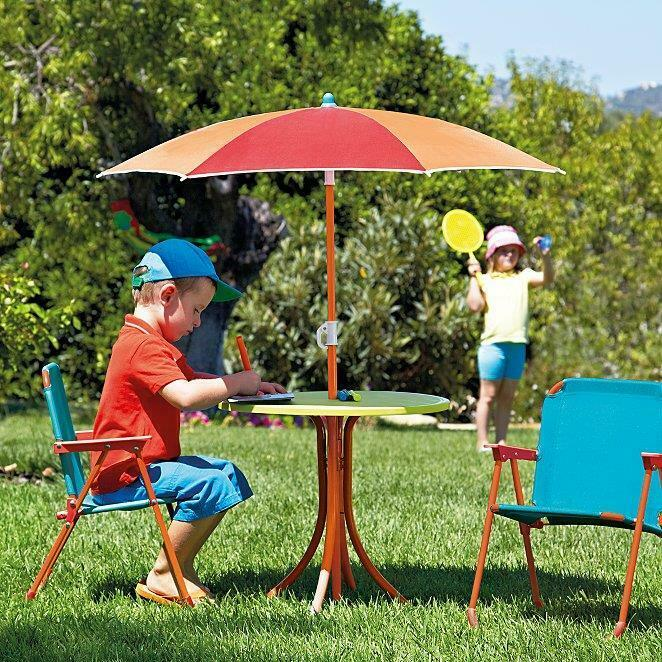Kids 4 Piece Patio Set Outdoor Garden Furniture With Parasol