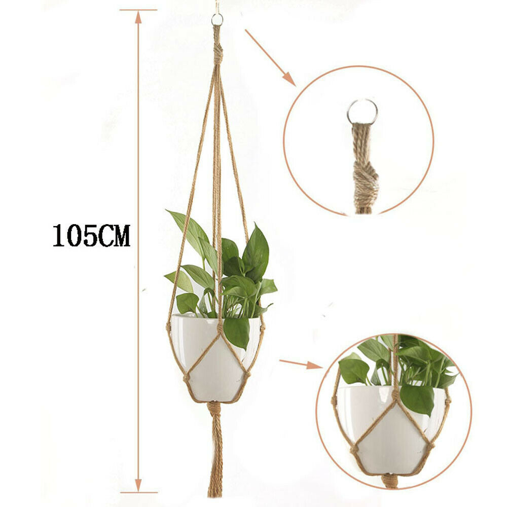 2pcs Plant Flower Hanger Pot Holder Macrame Jute Ceiling