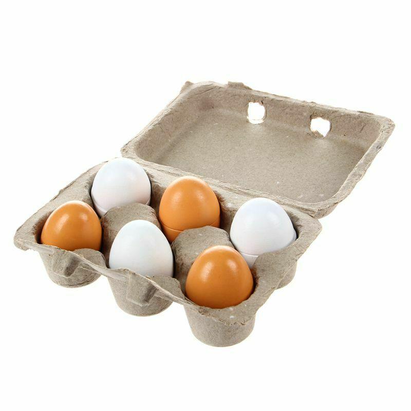 6pcs/Set Wooden Eggs Yolk Pretend Play Kitchen Food Cooking