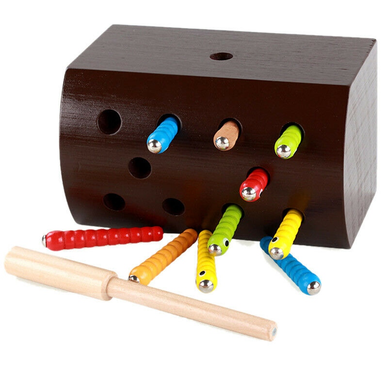 Baby Wooden Magnetic Toy Catching Worms Colorful Insects