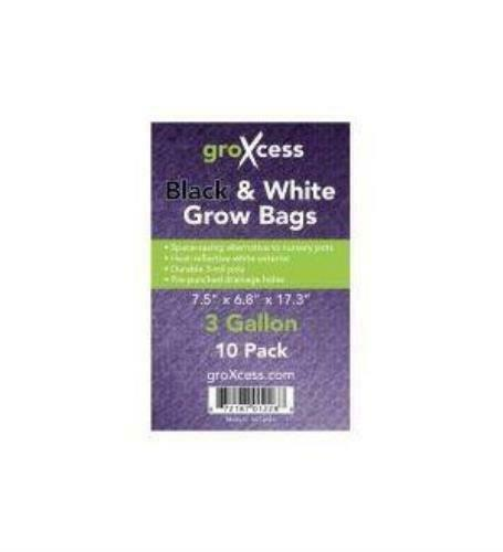 GROXCESS BLACK & WHITE GROW BAGS, 3 GAL, 10 PACK