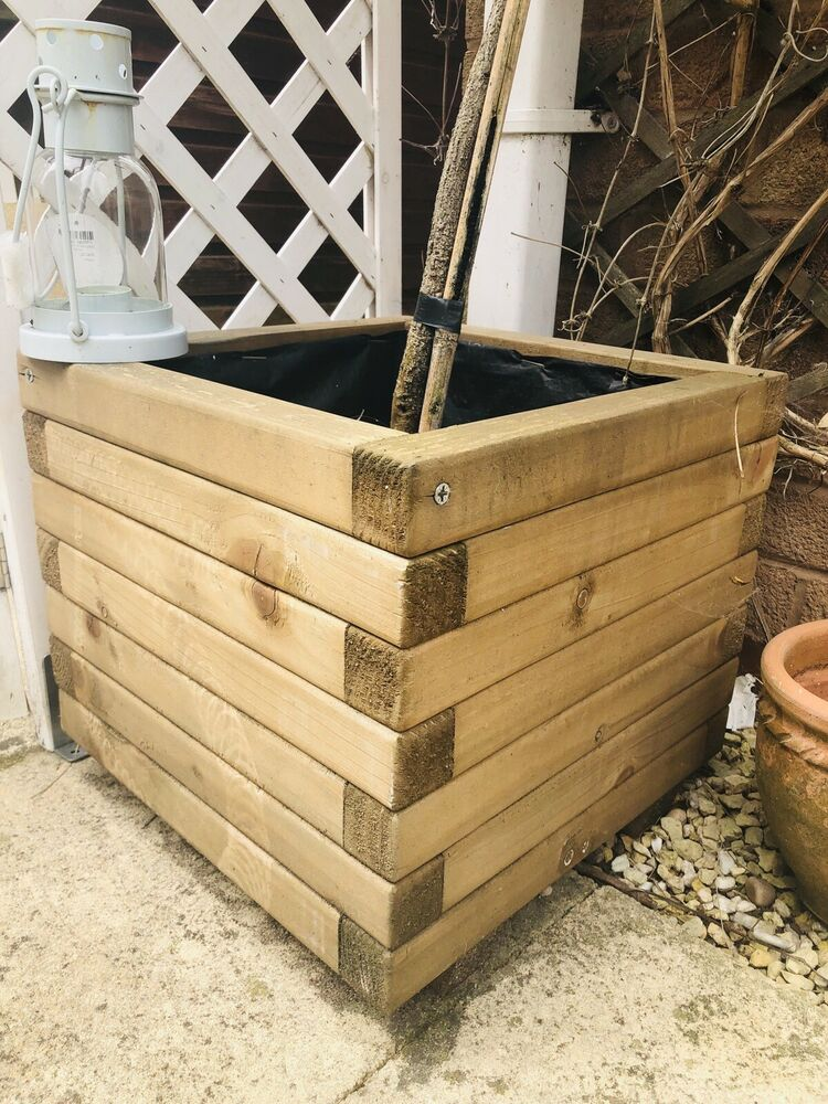 Garden Wooden Planter Box Lined Square Flower Plant X 6