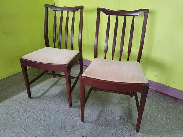Pair Of Dark Wood Dining Chairs For Reupholstery