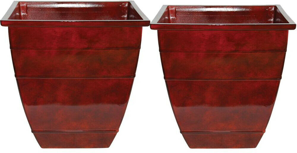 Resin Acid Stained Square Planter 14 in. Lightweight Durable