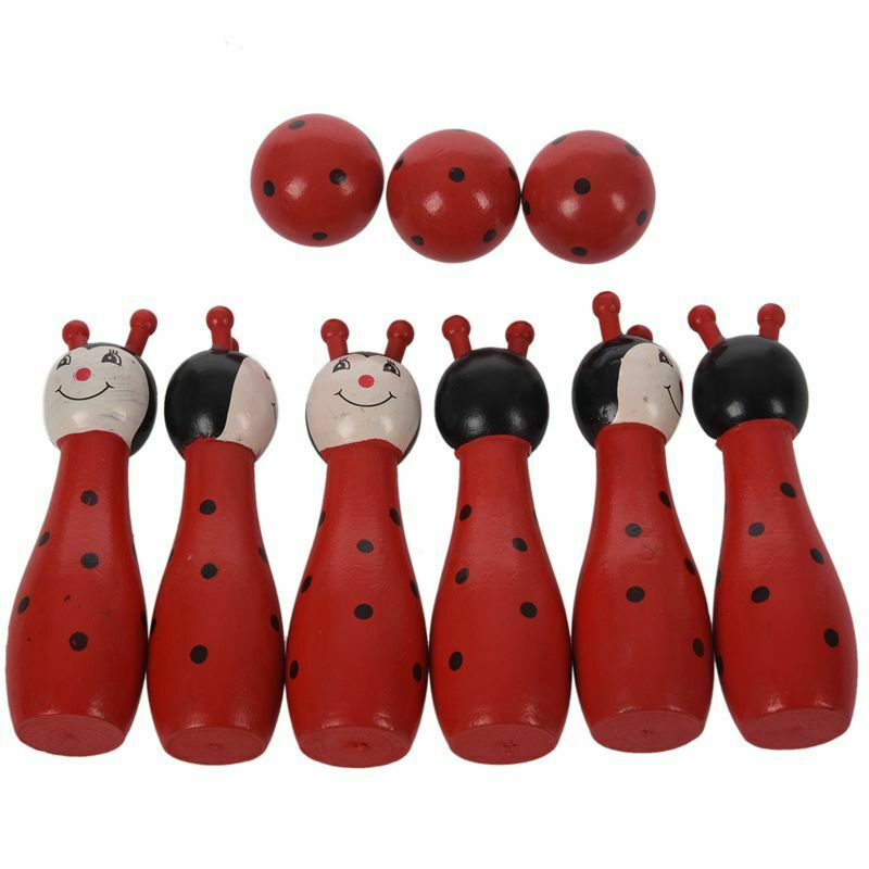 Wooden Bowling Ball Skittle Animal Shape Game For Kids