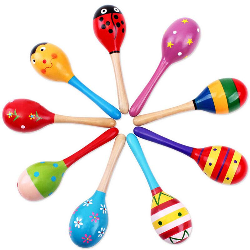 Wooden Maraca Rattles Baby Kids Educational Musical Hand